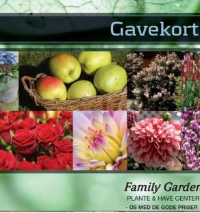 Gavekort til planteskole, havecenter, blomster, planter, vin og chokolade